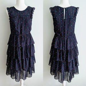 J Crew Lip Print Tiered Ruffle Silk Dress